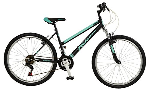 Falcon Vienne Womens' Mountain Bike Black/Teal, 17' inch steel frame, 18-speed Shimano rear derailleur and micro-shift rotational shifters strong and lightweight deep-section alloy wheel rims
