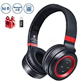Bluetooth Headphones Over Ear, Foldable Hi-Fi Stereo Wireless Headset Included Card Reader Support Mic/TF Card and Wired Mode for PC/Cell Phones/TV