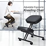 LCH High Back Bonded Leather Executive Office Chair - Adjustable Recline Locking Mechanism,Flip-up Arms Computer Desk Chair,Thick Padding and Ergonomic Design for Lumbar Support (Black Chair)