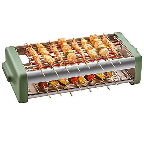 Linjolly Parrillas eléctricas portátiles Barbacoa de Doble Capa Parrilla para el hogar Pinchos sin Humo 2000 W Power,con Rejilla Neta y Cepillo