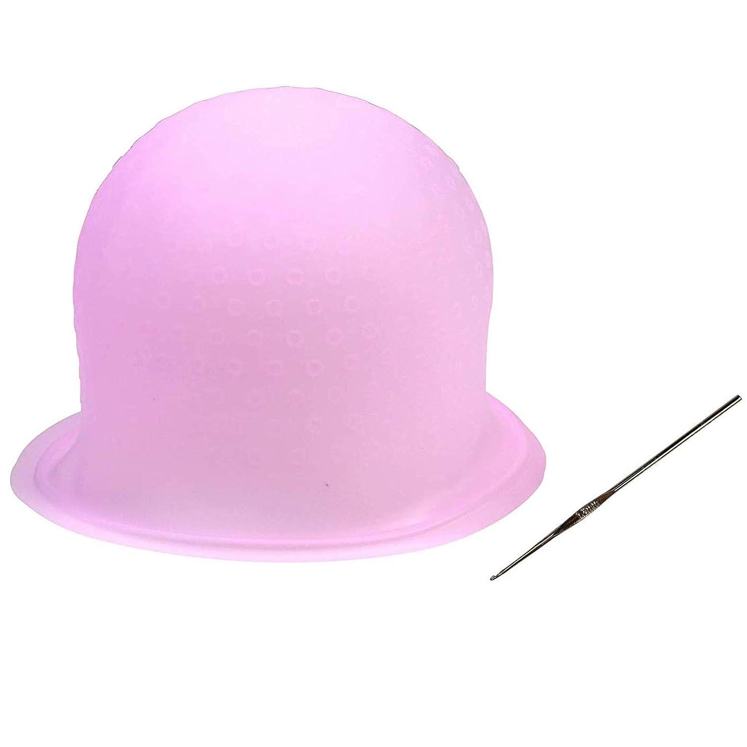 小麦コースニンニク毛染めキャップ 洗って使える ヘアカラー メッシュ シリコン ヘア キャップ(かぎ針付き) 再利用可能 染め専用 ボンネット 部分染め 自宅 DIY (ピンク)