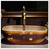 YRRA Lavabo de Cerámica, Lavabo sobre encimera Ovalado Pintado a Mano Lavabo sobre Encimera Vintage, para remodelar el baño, Los43x30x13cm