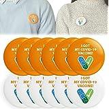 5 / 12pcs CDCデザインの「IGotMy 19 Vaccine」ウイルスバッジボタンピン、I Got My Covid 19ワクチンボタン、ラウンドラッキーバッジメンズおよびレディースブローチ、大人と子供向けのユニークなアクセサリー (B)