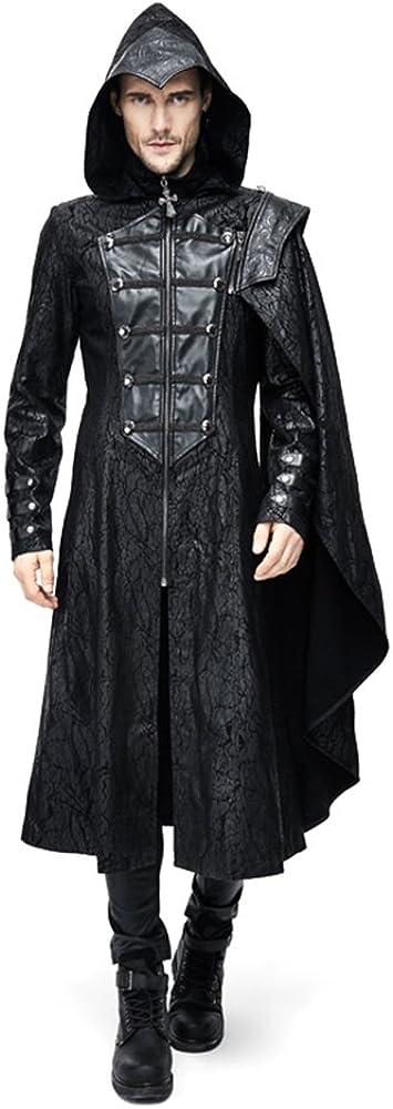 Steampunk Gothic Men Hooded Jacket Coats Punk Fashion Long Trench Cloak Coat