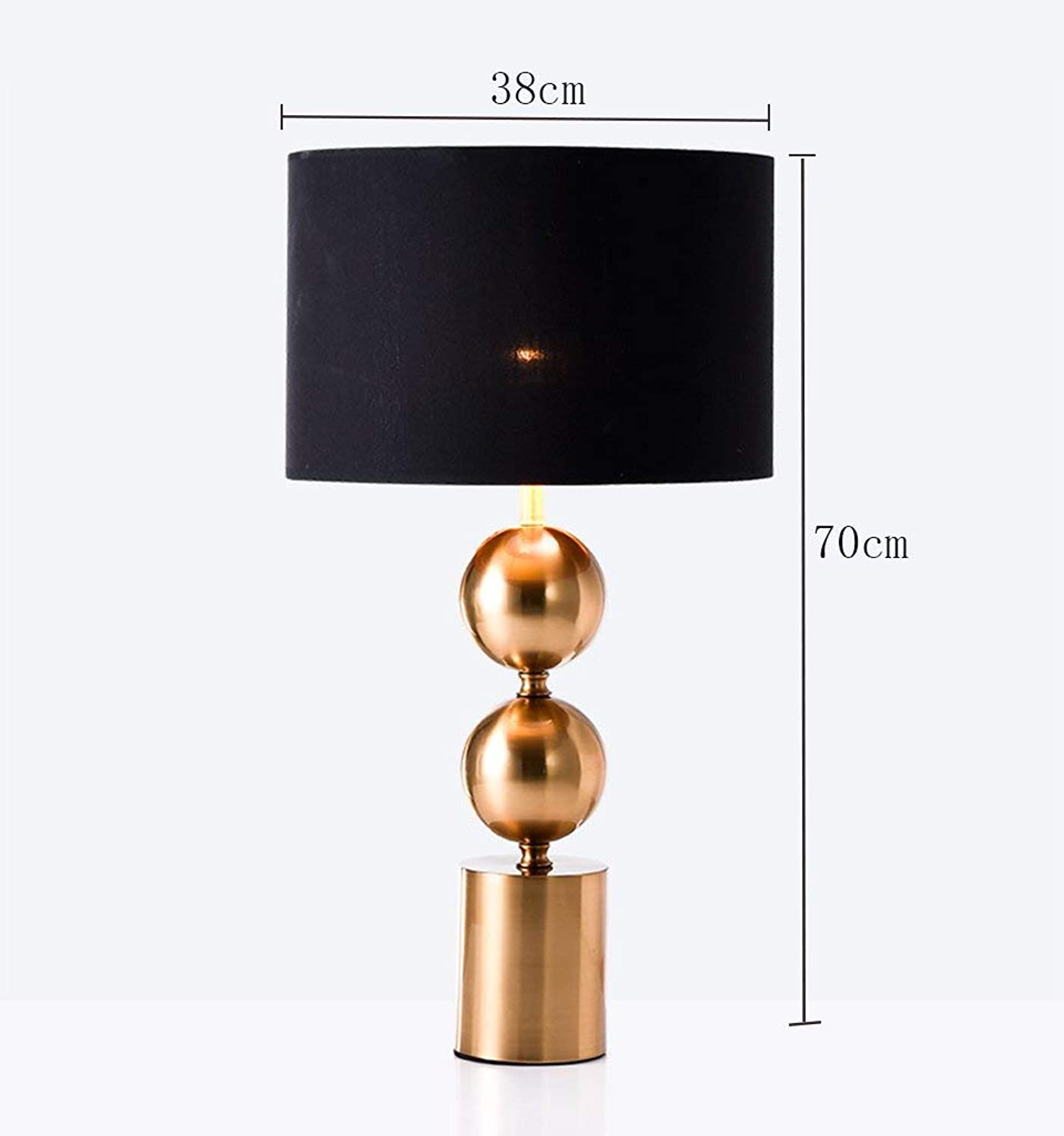Table Lamp, Metal Round Table Lamp Postmodern American Style Simple Sample Room Living Room gold 38 &Times; 70Cm Energy Saving and Environmental Predection Modern, ChuanHan