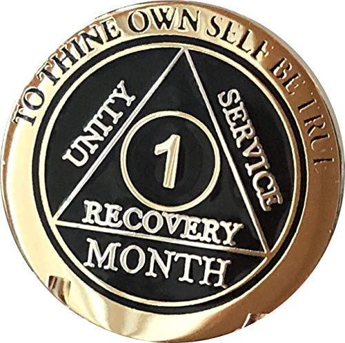 1 Month AA Medallion Elegant Black Gold and Silver Plated 30 Day Chip