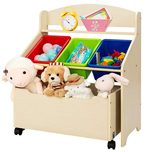COSTWAY Kids Toy Storage Unit, Wooden Bookcase Organizer with Removable Bins and Mobile Large Drawer, Children Toys Container Book Shelf for Playroom Bedroom