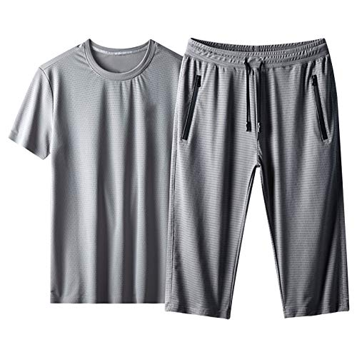 LONEA Hombres de seda de hielo Fitness Running Stretch Pantalones y camiseta Set verano ligero transpirable pantalones Stretch Training T-Shirt