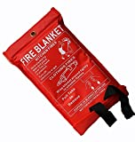 KING KARAN 1m x 1m Soft Case Fire Blanket, Large, Quick Unfolding, with Loops