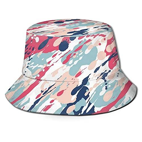 Gorra de pescador unisex, diseño de dibujos animados, palmera, coco y cama de sol en arena, patrón de temporada de verano, sombrero de playa de viaje, multicolor
