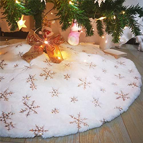 Plüsch Weihnachtsbaum Rock, Weißer Weihnachtsbaum Röcke mit Schneeflocke Pailletten Weihnachtsbaumdecke Christbaumständer Teppich Decke Dekoration für Frohe Weihnachten Neujahrsparty (Golden,120cm)