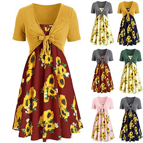 VJGOAL 2 stuks dames jurken zomer elegant korte mouwen boog verbandbloem print sling pak jurk voor vrouwen