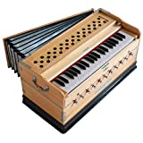 Maharaja Musicals Harmonium, 11 Stops, In USA, 3 1/2 Octave, Double Reed, Coupler, Natural Color, Standard, Padded Bag, A440 Tuned, Harmonium Indian Musical Instrument (PDI-AAE)