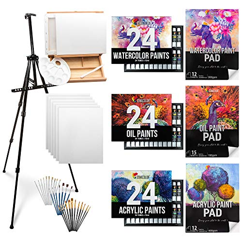 Professional Painting Supplies - Zenacolor - Acrylic Paint Set Oil Painting Supplies Watercolor Paint with Paint Brush Set Painting Canvas Paint Pads Wooden Easel Tripod and Accessories