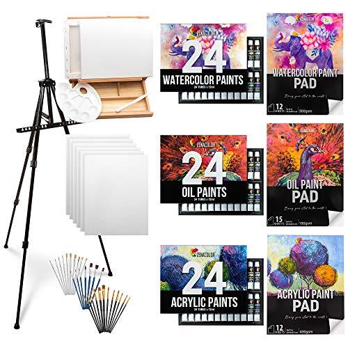 Professional Painting Supplies - Zenacolor - Acrylic Paint Set, Oil Painting Supplies, Watercolor...