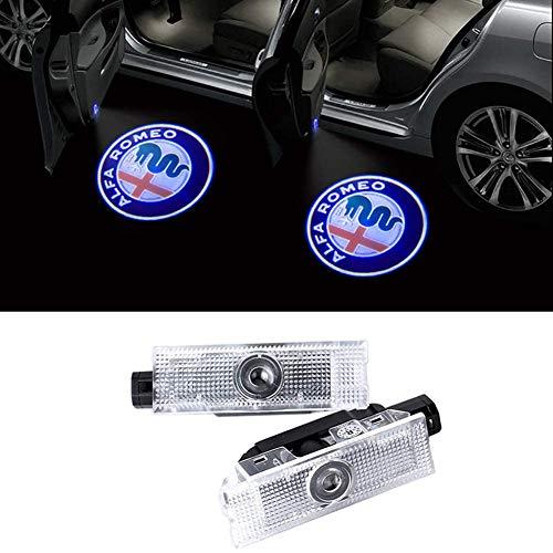 2Pcs LED Car Door Welcome Light Proiettore Lampada Ghost Shadow Logo Lampade Per Alfa Romeo Giulia Mito Stelvio Giulia Brera 159 Spider (01)