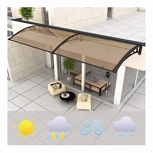 LIANGLIANG Vordach Haustür Überdachung, Polycarbonat Anti-UV Schlagfestigkeit Beleuchtung Anti-Schnee Kurvendesign, Regensichere Fenster Und Türen (Color : Brown, Size : 150x60cm)