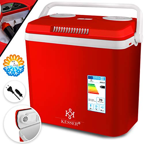 KESSER® 32 Liter Kühlbox | KÜHLT und WÄRMT | Thermo-Elektrische Kühlbox 12 Volt und 230 Volt | Mini-Kühlschrank | für Auto und Camping | EEK A++ | Rot |