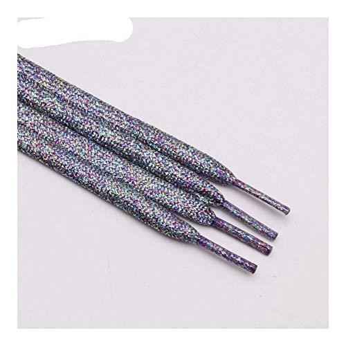 Lchb Schimmernde Metallic Glitter Wohnung Shoelaces Sparkle Shiny Schnürsenkel for Segeltuch-Turnschuhe Sportschuhe Schuhe (Color : 2370 Malachite Green, Size : 100cm)
