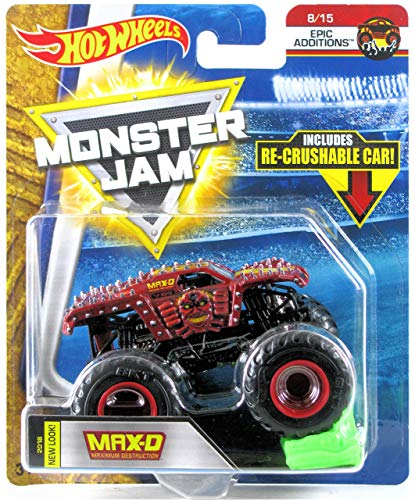Hot Wheels Monster Jam 2018 Epic Additions Max-D Maximum Destruction (w Re-Crushable Car) scala 1:64, marrone