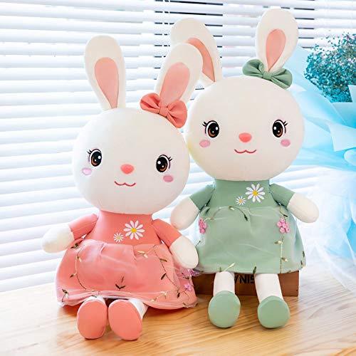 WYSTLDR Muñeca de Conejo Dulce Almohada de Peluche, muñeca de Trapo de Conejo de corazón de niña, Enviar Regalo de cumpleaños de niña Rosa + Verde 115 CM