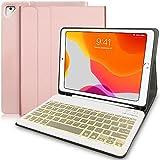 N/B Teclado Inalámbrico para iPad, 9.7 iPad Teclado Funda Portalápices de Apple Incorporado, Bluetooth Teclado Tablet con 7 Retroiluminados Colores para iPad 2018 2017 (5th 6th Gen) - Rose Gold