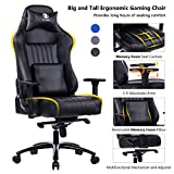 VON RACER Big and Tall 400lb Memory Foam Gaming Chair-Adjustable Tilt, Angle and 3D Arms Ergonomic High-Back Leather Racing Executive Computer Desk Office Metal Base (Black)
