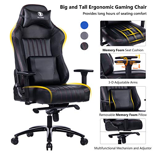 VON RACER Memory Foam Gaming Chair-Adjustable Tilt, Angle and 3D Arms Ergonomic High-Back Leather...