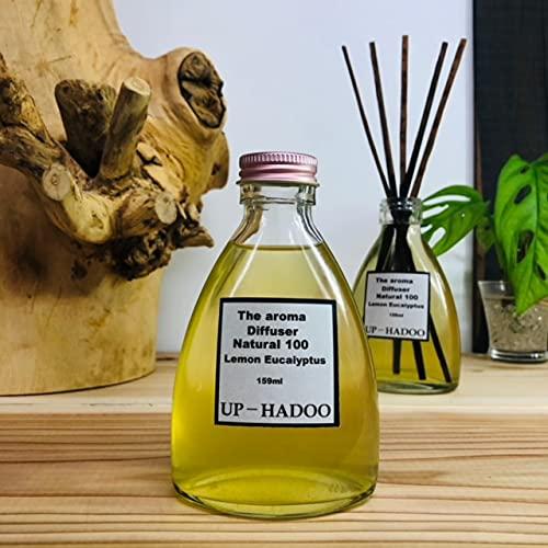 極上天然 リードディフューザー レモンユーカリ 日本檜皮葺リード付き 159ml 日本サトウキビエタノール 水晶濃縮液 ディフューザ アロマディッシュ 化学成分無配合 UP HADOO