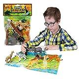 Jumbo Playset - Safari de Deluxebase. Lot de Figurines Grand Format. Sachet de Figurines en Plastique Animaux du Zoo : Tigre, Lion, Girafe, Éléphant, Gorille et Guépard Parfaits pour Les Enfants