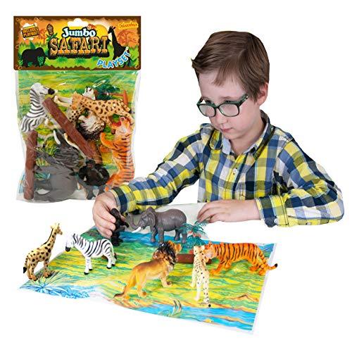 Jumbo Playset - Safaridieren van Deluxebase. Grote Speelgoeddieren Figuurset. Zak met grote safarifiguurtjes met o.a. Tijger, Leeuw, Giraf en Olifant. Perfect dierentuin speelgoed voor kinderen
