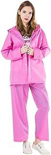 ピンク セット 分割 アウトドア 大人 女性 レインコート 薄くて軽い 通気性のある (サイズ : XL)
