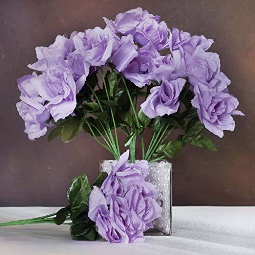 Efavormart 84 Artificial Open Roses for DIY Wedding Bouquets Centerpieces Arrangements Party Home Wholesale Supplies - Lavender
