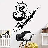 YuanMinglu Wohnzimmer Cartoon Dinosaurier Rakete wandtattoos Dekoration Dino Space Star Vinyl wandaufkleber kinderzimmer kunstwand schwarz L 84 cm x 97 cm