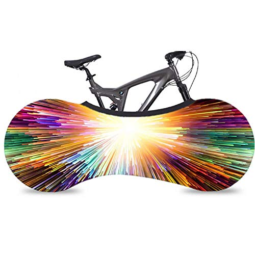 Aiyow Funda Bici para Interiores Funda Elástica Universal de Bicicletas para Almacenamiento en Interiores y Mantener Sus Suelos y Paredes limpias@Luz Colorida