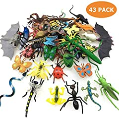 🐞 BIG VALUE PACK OF 43PCS BUGS: You will receive a big value pack of 43pcs fake bugs/insects set, including scorpion, centipede, mantis, locust, longicorn, spider, bee, fly, ant, caterpillar, ladybird, dung beetle, leech, cockroach, cricket, dragonfl...