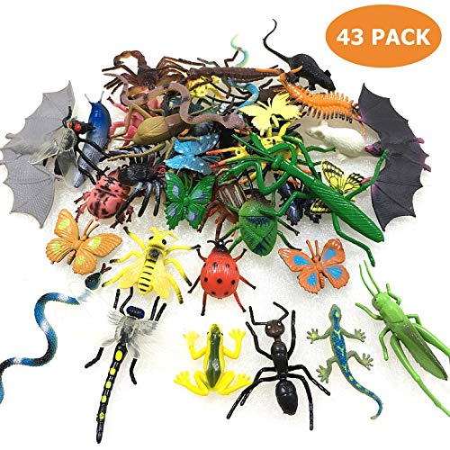 43 Pack Fake Bugs Mini Realistic Insects Toys for Kids Toddler Children's Birthday Gift Halloween Easter Treats Bugs Insects Goody Bag Filler