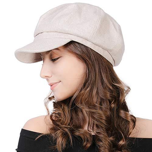 SIGGI Schirmmütze Barett Maler Mütze Damen mit Visor, 67145_Beige, Einheitsgröße