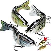 "TRUSCEND Fishing Lures for Bass 4"" Segmented Multi Jointed Swimbaits Slow Sinking Bionic Swimming Lures Freshwater Saltwater Bass Fishing Lures Kit Lifelike (Combination A)"
