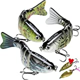 Fishing Lures for Bass 4' Segmented Multi Jointed Swimbaits Slow Sinking Bionic Swimming Lures Freshwater Saltwater Bass Fishing Lures Kit Lifelike (Combination A)