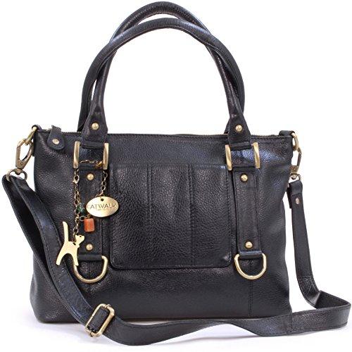 Catwalk Collection Handbags - Vera Pelle - Borsa a Tracolla/Borse a Mano/Spalla/Messenger/Tote/Tracolla Regolabile e Rimovibile - Con Ciondolo a Forma di Gatto - Gallery - NERO