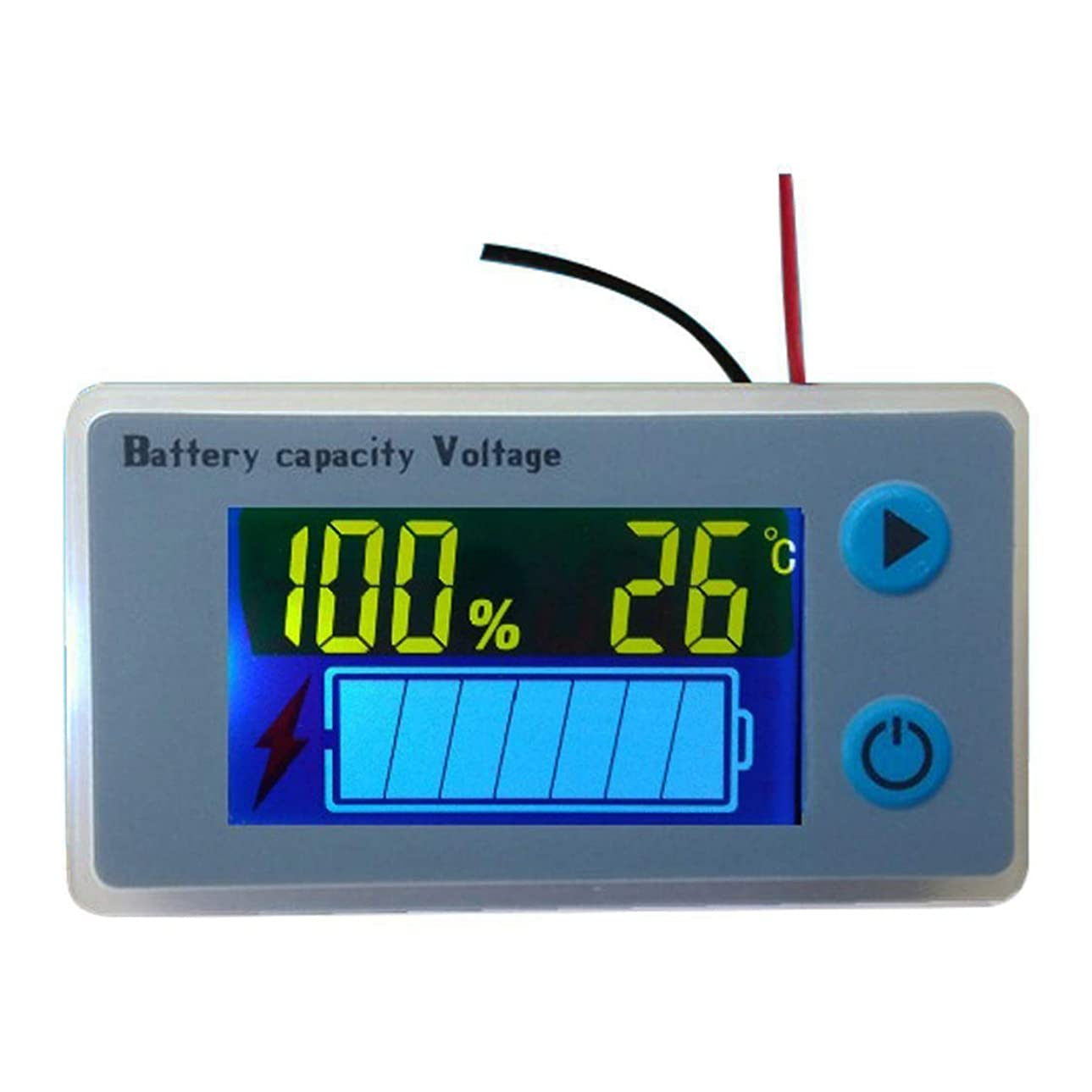 ベックス仮説辞任するデジタル電圧計 バッテリー残量測定 温度表示機能 電圧モニター 12Vセットアップ済