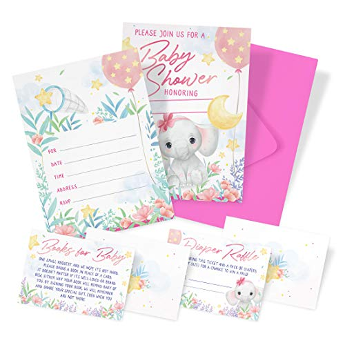 Baby Shower Invitations for Girl 20 Invites With 20 Envelopes, 20 Diaper Raffle Cards, 20 Baby Shower Book Request Cards - Pink Baby Elephant Theme