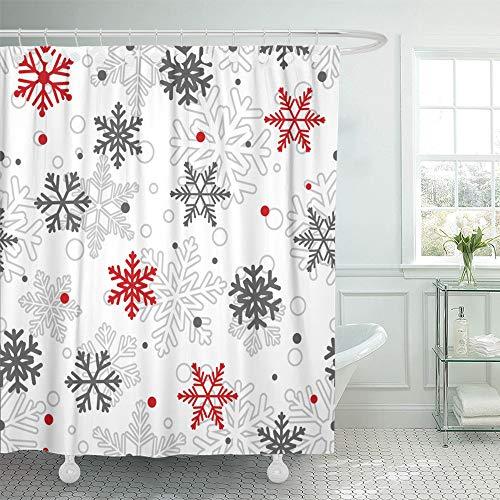 Emvency Dekorativer Duschvorhang, abstraktes Weihnachtsmotiv, große & kleine Schneeflocken, Rot/Grau auf Weiß, Blizzard, 167,6 x 182,9 cm, wasserdicht, Badezimmer-Duschvorhang-Set mit Haken