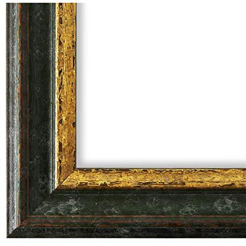 Online Galerie Bingold Bilderrahmen Grün Gold DINA4(21,0x29,7) - DIN A4 (21,0 x 29,7 cm) - Antik, Barock, Vintage - Alle Größen - handgefertigt - WRF - Forli 3,7