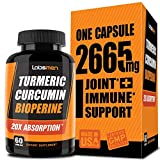 One Vegan Capsule of 2665mg - 20X Turmeric Curcumin Supplement with Bioperine Turmeric Curcumin w Black Pepper Work as Anti Inflammatory Supplement for Natural Pain Relief & Joint Pain Relief (2-Mons)