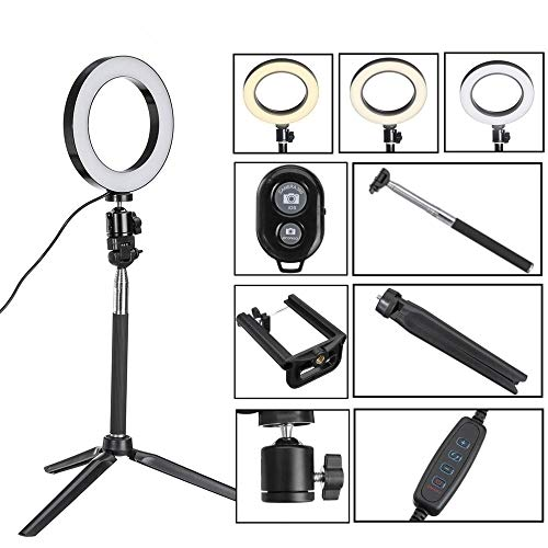 Led Ringlicht Selfie Stick Bluetooth Tripod Selfie Stick Met LED-Ring Fill Light Met Standaard Verlichting Kit For Telefoon Camera YouTube smartphone-Video-Opnames (Color : White, Size : 20cm)