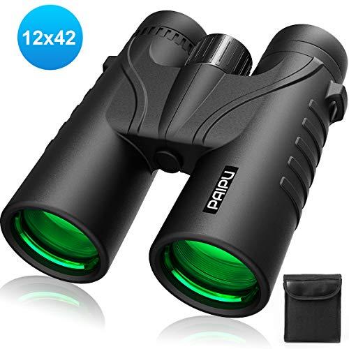 PAIPU Fernglas HD Robust Ferngläser 12x42 Wasserdicht Feldstecher für Vogelbeobachtung, Wandern, Jagen, Sightseeing, Kompakt Teleskop für Erwachsene und Kinder