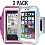 CaseHQ [2pack] Water Resistant Running Sports Armband Phone Case Reflective with Key Holder for Workout for iPhone X 8 7 Plus, 6 Plus, 6S Plus (5.5-Inch), Galaxy S6/S5, Note 4 (Silver+Pink)