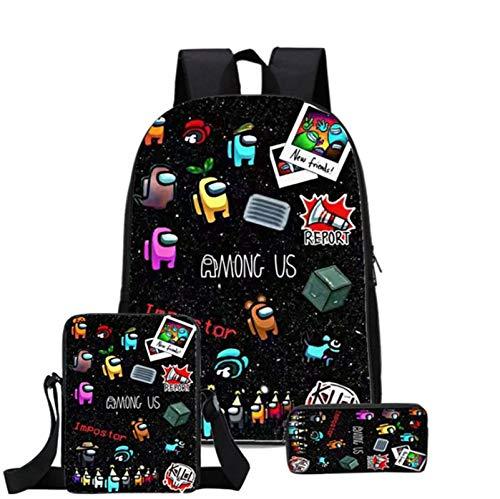Among us mochilas, mochilas de hombre lobo espacial, mochilas escolares de tres piezas, mochilas de juegos de dibujos animados, bandoleras y estuches para lápices,Mochila para niños (Estilo 3)